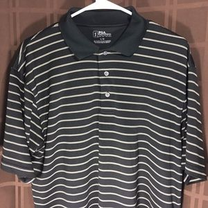 PGA TOUR PRO Men's Size L Striped Black Polo